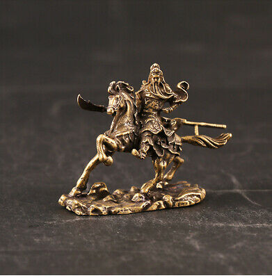 Collect China Old Bronze Hand-Carved Ride Horse General Guan Yu Delicate Statue