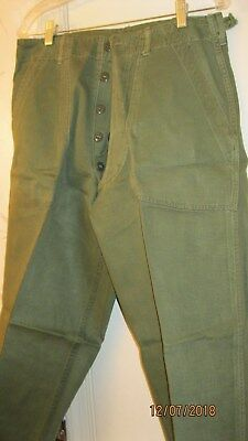 US Vietnam Early OG-107 Cotton Sateen 1st Pattern OD Fatigue Trousers Medium