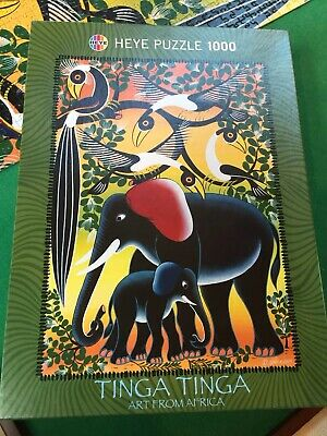 Heye Puzzle, 1000 Pieces, Titled Tinga Tinga, Art From Africa, Elephant Family