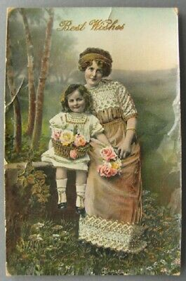 Pretty Lady and Young Girl – Best Wishes - Roses in Basket ~1417