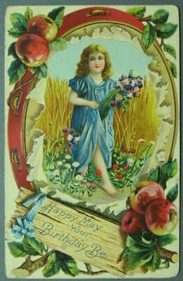 Happy May Your Birthday Be – Embossed Post Card ~1533