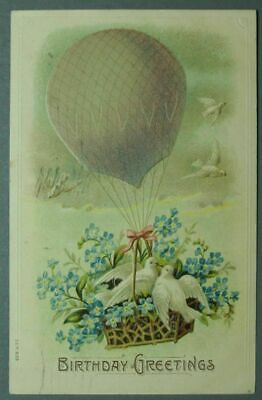 Birthday Greetings – Doves and Balloon – Embossed PC ~1543