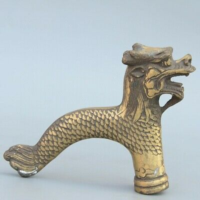 Collectable China Old Bronze Hand-Carved Myth Dragon Bring Luck Walking Stick