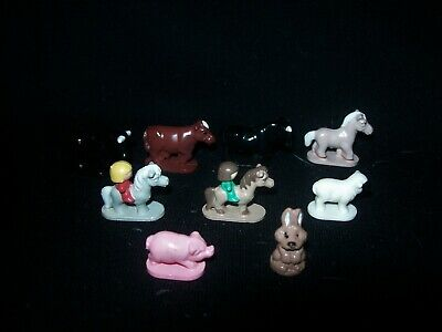 EUC or VGC Nine Vintage Polly Pocket Bulls, Cows, Horses with Riders, Pig, Sheep
