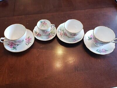 4 Fine Bone China Cups And Saucers With Orchids-BEAUTIFUL!!!