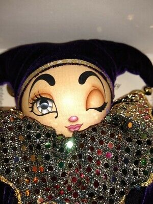 Xenia Jester Doll hand painted wood doll w Swiss music box