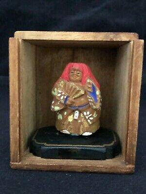 Antique Japanese Miniature Nara Doll Ningyo Ittobori Wood Carving