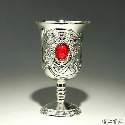 Collect China Old Miao Silver Inlay Zircon Hand-Carved Bloomy Flower Wine Cup