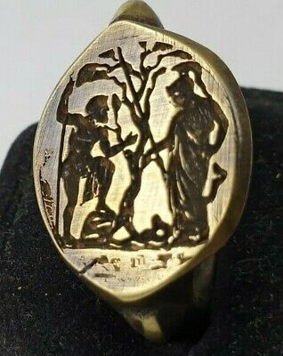 Poseidon and Athens- Ancient Bronze Ring-Vintage-Antique ROMAN-RARE