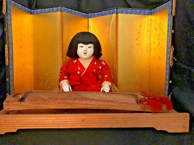 Rare Antique Japanese Doll Ningyo Court Lady Playing The Koto Unusual Miniature