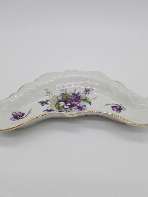 Violet Flowers Trinket Dish With Gold Rim/ Vintage Japan