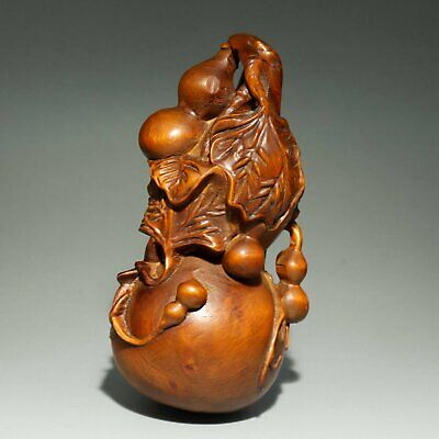 Collect China Antique Boxwood Carve Delicate Little Cucurbit Auspicious Statue