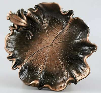 Collectable China Red Copper Hand Carve Lotus Leaf & Frog Delicate Unique Plate