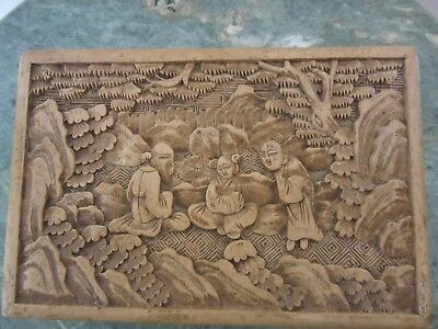 Antique 19Th Century Chinese White Cinnabar Hand Carved Lacquered Jewelry Box
