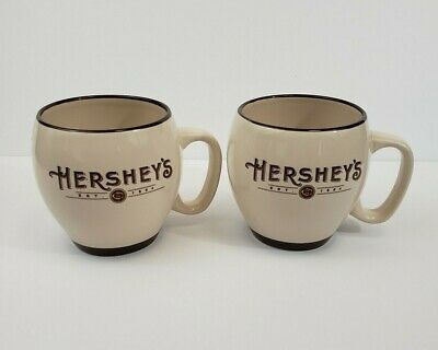 Hershey's EST 1894 2004 Barrel Coffee Cup Mug Hot Chocolate Cream Brown Set of 2