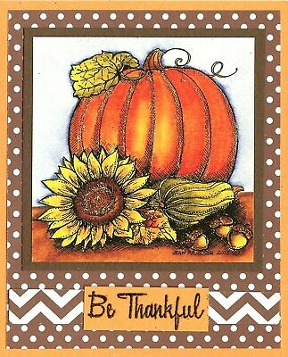 THANKSGIVING Pumpkin Bouquet Wood Mounted Rubber Stamp NORTHWOODS P10090 New