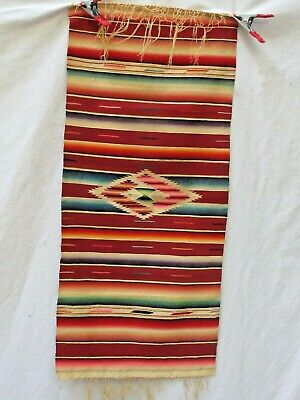 "Antique Mexican small Saltillo Serape 14"" X 32"""