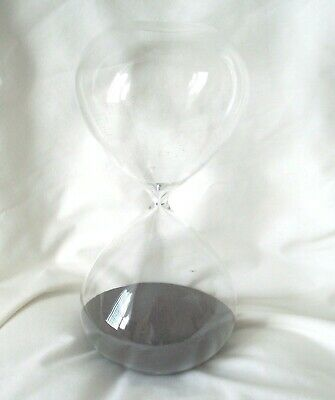 "NEW HOUR AND 1/2 CLEAR GLASS TIMER BLACK SAND  11 5/6"" x 5 1/2"""