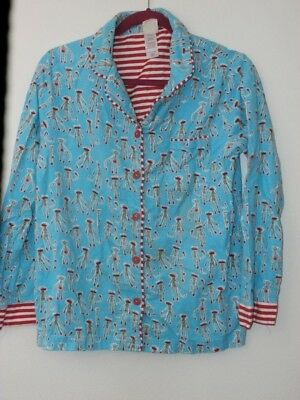 Munki Munki Flannel Pajama Top Women Small Blue Red Sock Monkeys Shirt Only