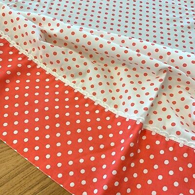 Vintage 60s Sears Twin Flat Bed Sheet Pinkish Red Polka Dot Fabric Cotton Blend