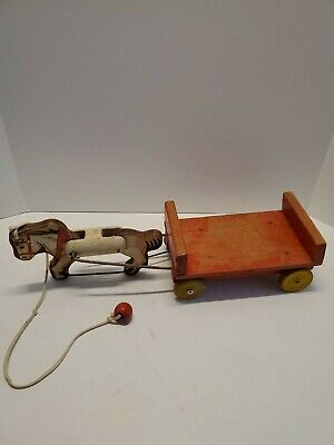 Large Vintage Horse Drawn Pull Cart Wagon * Wooden Horse and Cart Pull Toy