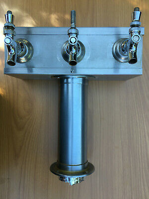 Stainless Steel T Style Commercial Bar Tap Tower with three (3) Faucets