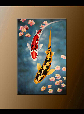 Large MODERN ABSTRACT OIL PAINTING Feng Shui Fish Koi Canvas Handmaded Wall Art