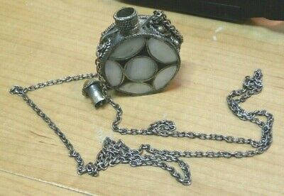 """Vintage Snuff Bottle 1.5"""" dia .75"""" Thick Mother of Pearl lid  29"""" Chain Necklace"""