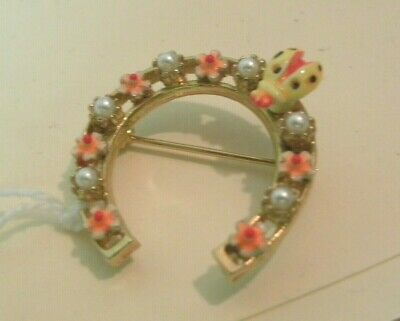 """ART signed Horse shoe flower lady bug Pin Brooch gold tone 1.5""""across"""
