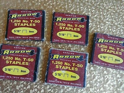 GENUINE ARROW T50 HEAVY DUTY STAPLES  JOB LOT 5 Boxes