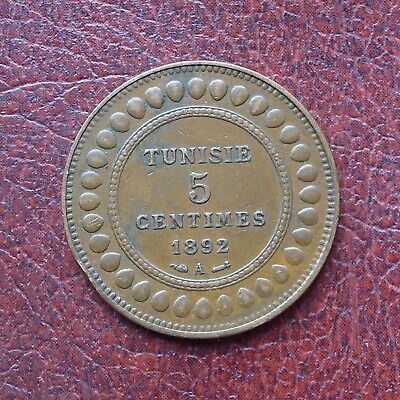 Tunisia 1892A bronze 5 centimes