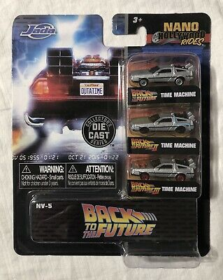 Back To The Future 1, 2 And 3 Nano Hollywood Rides Die Cast Deloreans New