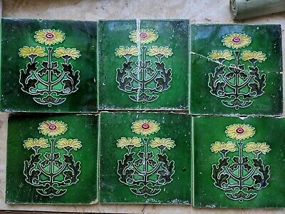 Set Of 6 Victorian hand painted Tiles Green With Yellow Flower