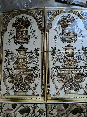 Set Of 8 Hand Painted Victorian Fireplace Tiles