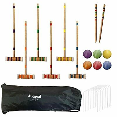 Juegoal 6-Player Deluxe Croquet Set & Carry Bag Game Player With Balls Mallets