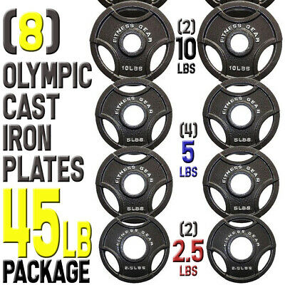 "(8) Plates 10 5 2.5 lbs for Olympic Barbell Bar 2"" dia. Cast Iron Weights 45 lb"