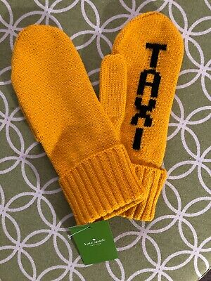 Kate Spade Yellow with Black Knit Taxi Mittens One Size Dandelion NWT $48
