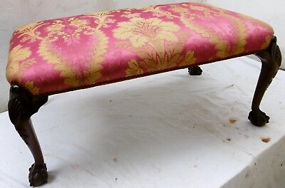 Large Edwardian Mahogany Cabriole Leg Upholstered Stool covered in Silk Damask.