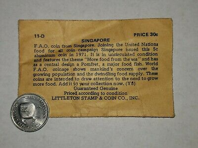 1971 Singapore 5 Cent World Coin - Pomfret Fish Uncurculated With Envelope