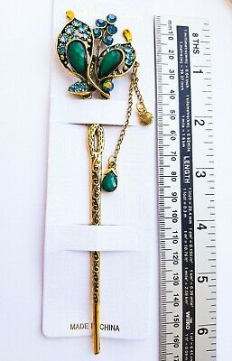6'' Long Vintage Style Metal Hair Stick-Antique Gold/Blue/Green-HEAVY IN WEIGHT!