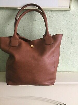 ME+EM lovely gorgeous genuine chunky dark tan leather large tote shoulder bag
