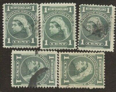 Canada Stamps # 80, 1¢, 1897 Newfoundland, lot of 5, used stamps.