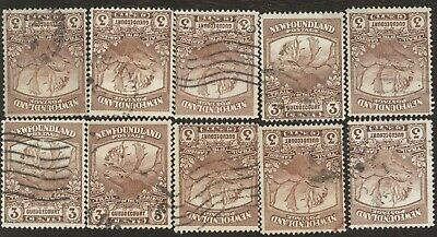 Canada Stamps # 117, 3¢, 1919 Newfoundland, lot of 10, used stamps.
