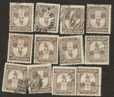 Canada Stamps # 133, 3¢, 1923 Newfoundland, lot of 12, used stamps.