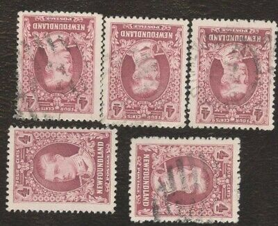 Canada Stamps # 175, 4¢, 1928 Newfoundland, lot of 5, used stamps.