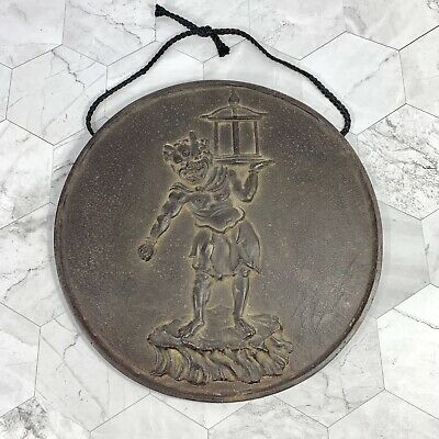 """Antique Chinese Bronze Plaque Detailed 11.5"""" Figure With Lantern Wall Hanging"""