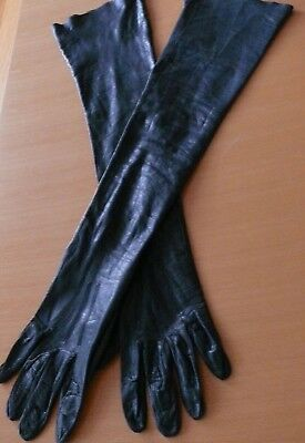 1940-50`s Black soft leather French Opera Gloves Bought at B.Altman NY size 7