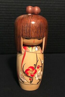 """Vintage Japanese Wooden KOKESHI Doll- 6-1/2"""" tall- signed"""