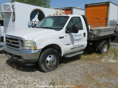 2003 Ford F350  2003 Ford F350 4x4 Flatbed Truck 6.0L V8 Diesel 9' Bed Auto A/C -Parts/Repair