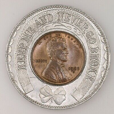 Vintage 1922-D Lincoln 1C Encased Coin In Old Lucky Penny Holder